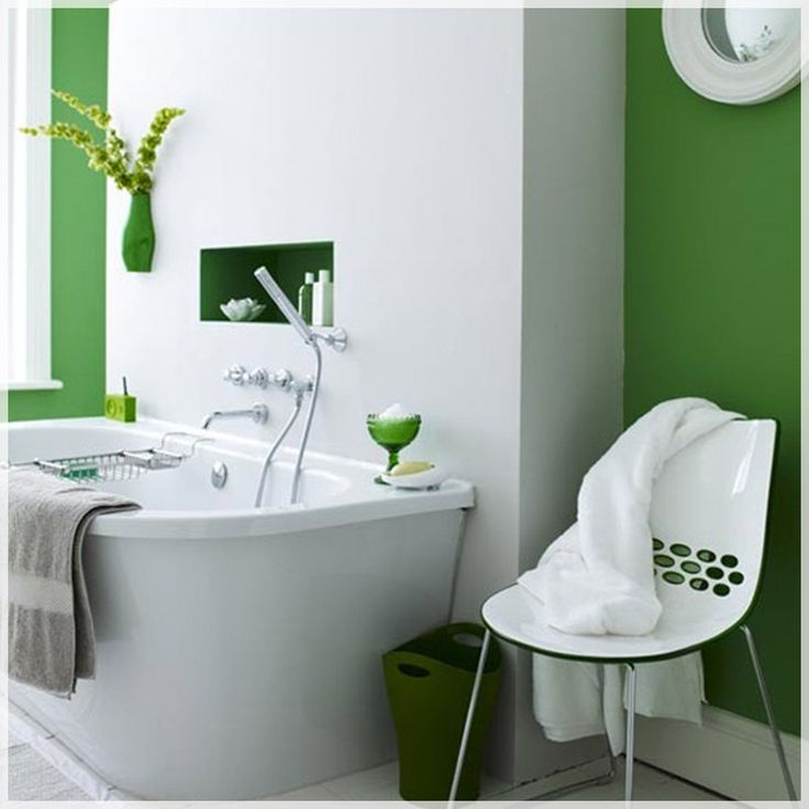 simple white and green bright bathroom