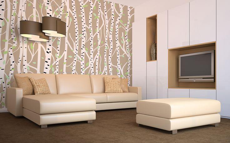 aranżacja salonu w stylu skandynawskim to dobry pomysł,  by odświeżyć wnętrze małego mieszkania #brzozy #drzewa #minimalizm #salon