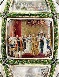 The most sentimental and personal of all the Imperial Egg designs, it was presented by Czar Nicholas II to his wife, Alexandra, on Easter Sunday, April 23rd, 1911. This egg was made to commemorate the fifteenth anniversary of Czar Nicholas II's accession to the throne. A lesson in Russian History, the egg contains miniatures of nine major political events of the year 1911, as well as portraits of the Emperor, Empress, and their five children.