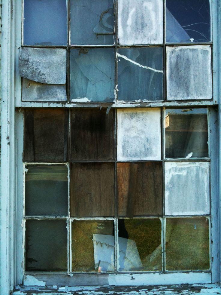 abandoned factory window.