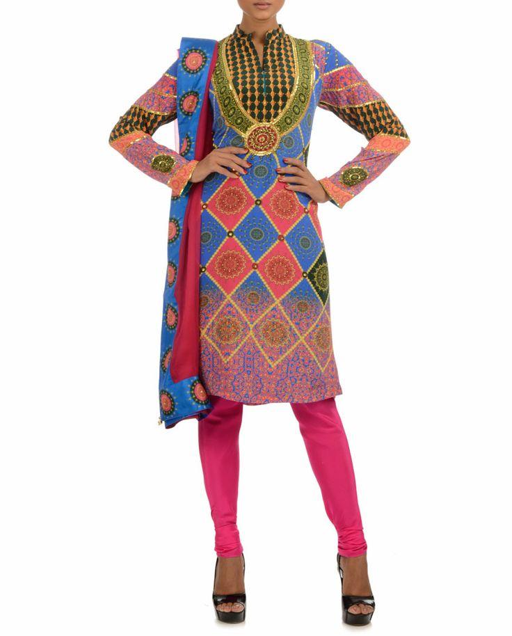 Printed Nehru Collar Suit #Psychedelic #Fashion #ManishArora #Sale #Discount #Love #Designer #Indian #Ethnic #Fusion #Digital #Printed