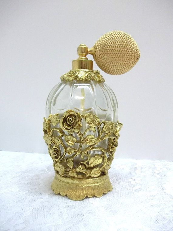 Matson Gold Gild Ormolu Rose Perfume Bottle With by donDiLights