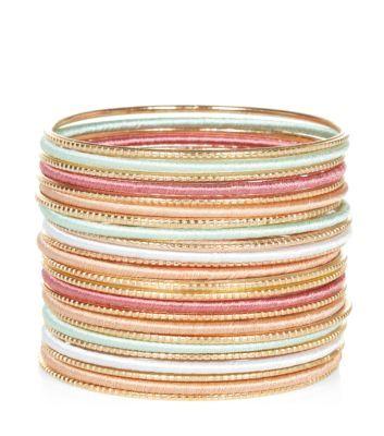 Gold Pastel Thread Wrap Bangles