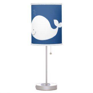 White Whale Navy Nursery Lamp