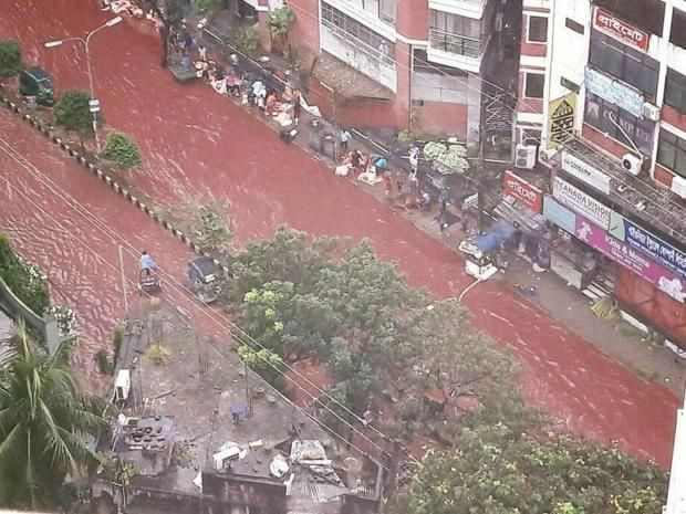 The streets of Dhaka, Bangladesh ran red on Tuesday as flood water mixed with the blood of sacrificed animals. Flooding is common in the Bangladeshi capital, which suffers from underdeveloped drainage infrastructure. However, heavy rains came at the same time as the festival of Eid al-Adha.