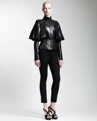 Gothic Couture: Black Leather Capelet Jacket by Alexander McQueen. $5965.