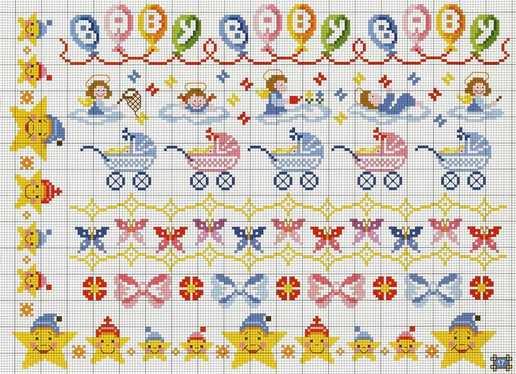 Several themed cross stitch borders