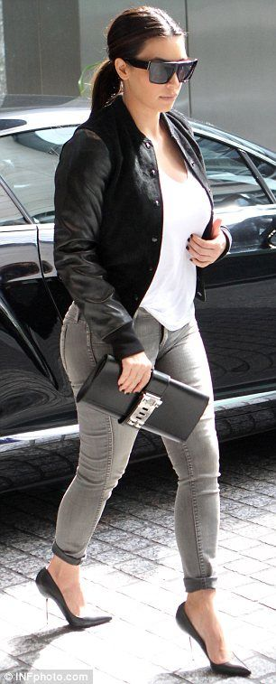 Even celebs make mistakes - Kim Kardashian's outfit does the opposite of flattering her curves. Indeed, it makes her look way bigger than she is. Hence bomber jacket + skinny jeans is a definite no-no!