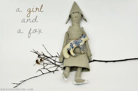 A Girl with a Fox, handmade textile doll, ooak doll, textile animal