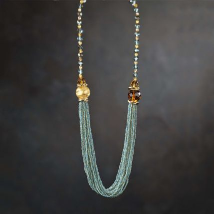 this turquoise bronze and gold seed bead torsade necklace estate a venezia is made in their quaint workshop just steps from the rialto bridge
