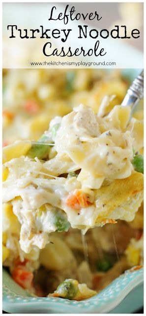 Leftover Turkey Noodle Casserole ~ Whip up a creamy pan to enjoy those Thanksgiving