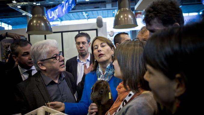 Des opposants à l'huile de palme ont tenté d'interpeller la ministre de l'Environnement Ségolène Royal, en visite dimanche au salon de l'Agriculture.