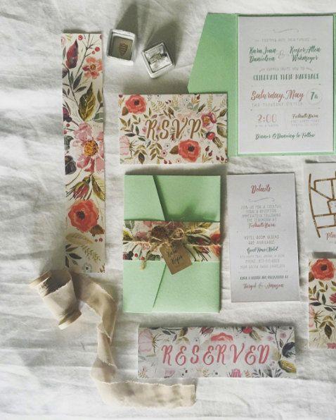 Rustic Botanical Wedding Invitations Suite - Boho Wedding, Botanical Wedding…