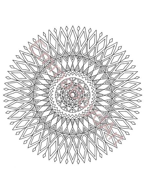 Adult colouring page mandala drawing hand drawn in by InkyMalinky