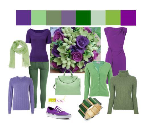 violet-met-groen. Een drieklank kleurcombinatie aangevuld met een analoge kleur. Meer weten? Klik op de foto. #kleurcombinatie #colorcombination