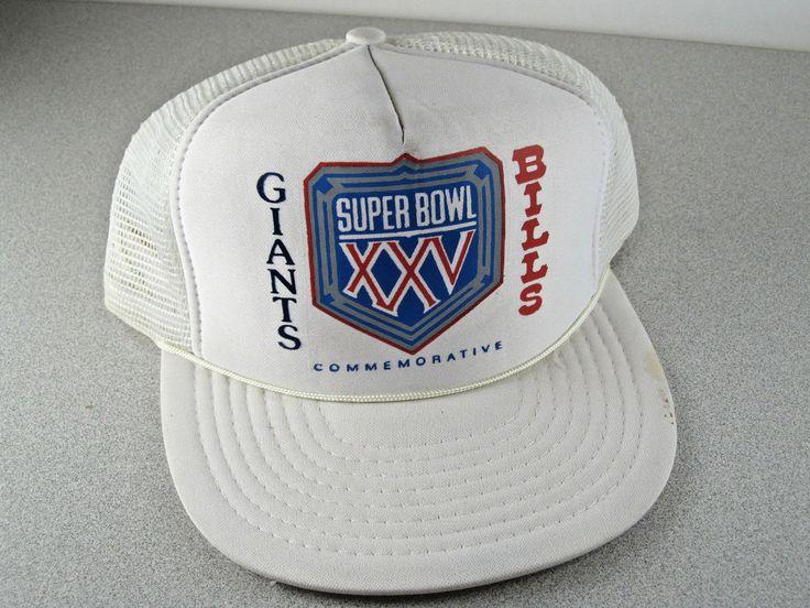 Vintage '91 ORIGINAL Super Bowl XXV (25) Giants vs Bills Football Hat/Cap Rare a #NewYorkGiants