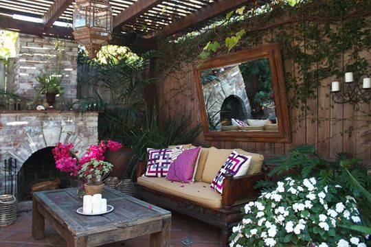 outdoor mirror above the couch...add firepit