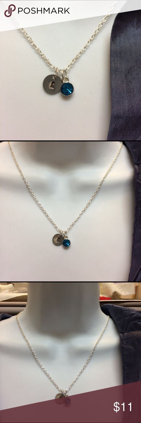"""December birthstone choose initial necklace. Personalized December blue birthstone with initial of your choice necklace, will hand stamp for your per order.  ---- necklace 19"""".  Birthstone: 10mm ---------#b4371 Jewelry Necklaces"""