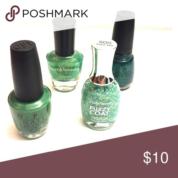 Shades of Green set of 4 Shades of green set of 4 nail polish- opi don't mess with opi, love & beauty light green, china glaze watermelon rind, sally hansen fuzzy coat Makeup