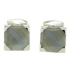 Chelsea Jewelry Premium Collections Elegant Gray Cat's Eye Gemstone Square Cufflinks