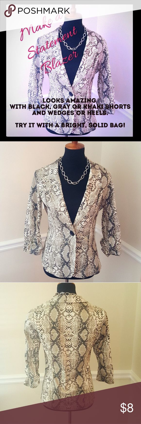 "Stretch Blazer 3/4 rouched sleeves, ""snake skin"" pattern, very stretchy and lightweight. Transitions from day to night beautifully. Pairs with gray,  black, khaki and off white - super versatile. Jackets & Coats Blazers"