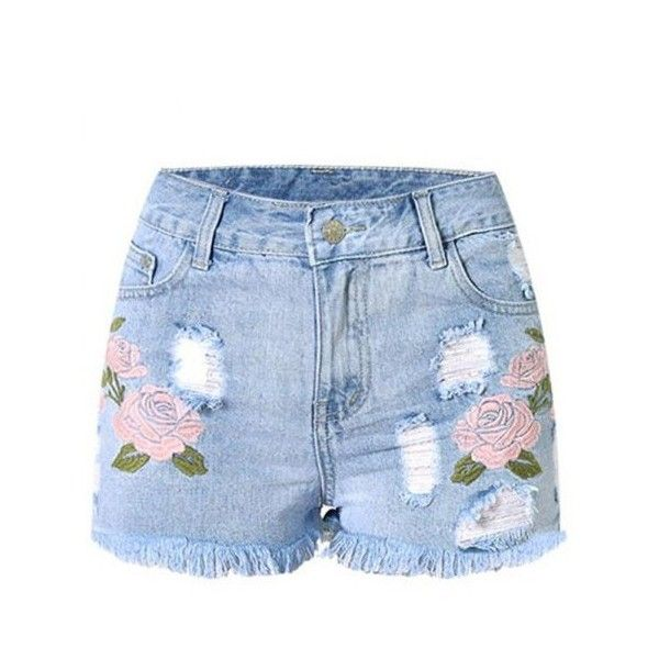 Stylish High Waist Embroidered Flower Ripped Denim Shorts For Women (37 BAM) via Polyvore featuring shorts, pants, destroyed jean shorts, jean shorts, denim shorts, distressed shorts and ripped denim shorts