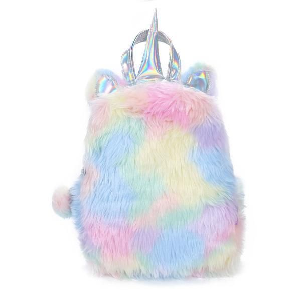 Cute Women Girls Fluffy Unicorn Backpack Plush School Rucksack Zipper Bag Pretty