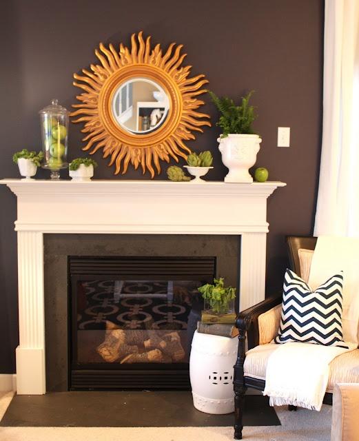 Mantel decor: Mantles Decor, Wall Colors, Living Rooms, Mantel Decor, Black And White, Spring Colors, Sunburst Mirrors, Dark Walls, Sun Mirrors