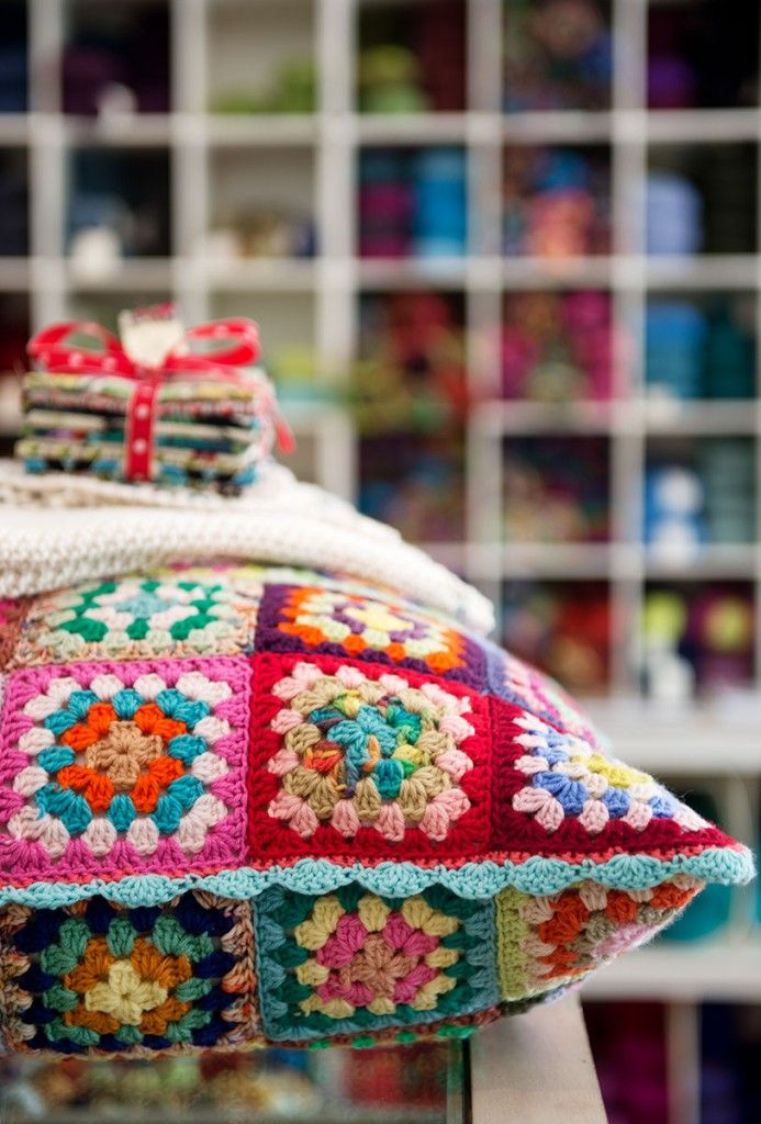 Gorgeous old skool granny square crochet pillow - Calico & Ivy on #styleandfocus