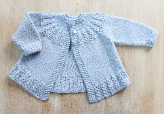 Blue Baby Jacket Instructions in French PDF Instant download Size Newborn - 3…