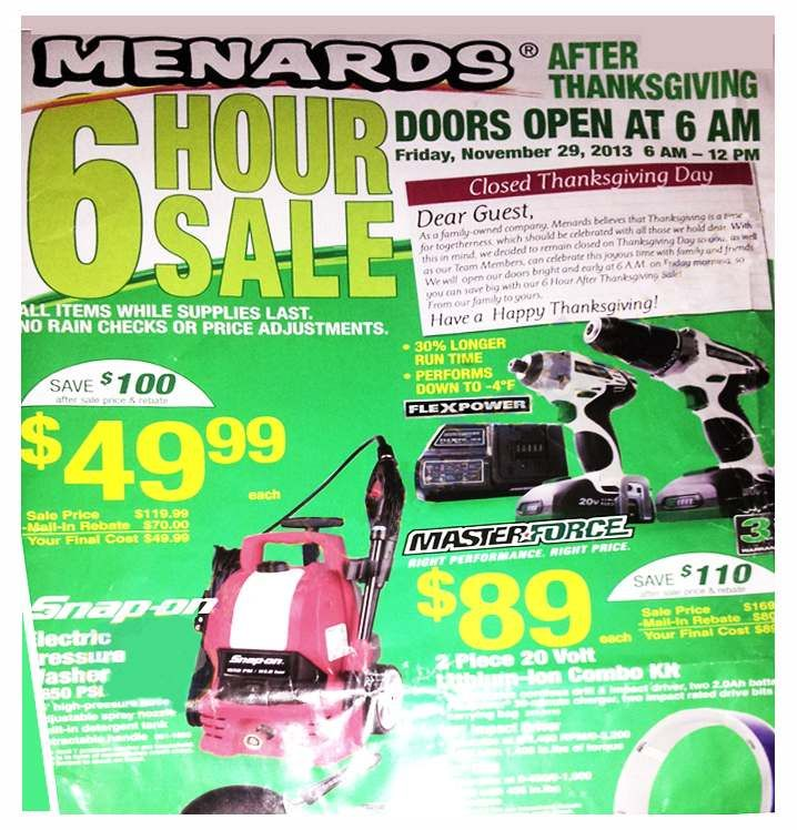 Menards Black Friday Ad 2013 - Menards Black Friday Deals & Sales
