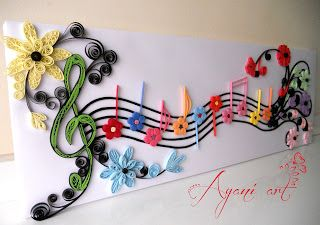 Beautiful quilled musical notes by: Ayani art: http-//ayaniart.blogspot.com.es/2012/11/music-quilling.html?spref=fb#