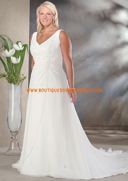 Robe de mariée grande taille style simple col V