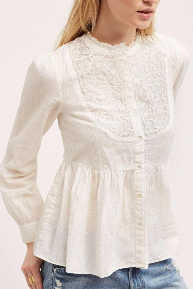 ANTHROPOLOGIE NEW $118 Embroidered Mockneck Buttondown Floreat Ivory Top NWT #AnthropologieFloreat #ButtonDownShirt #Casual