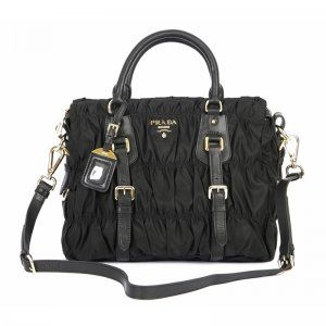 £141.00 Cheap Prada Gaufre Nylon Tessuto Handbag Bn1336 - Black Site