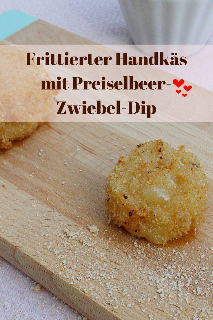 Frittierter Handkäs mit Preiselbeer-Zwiebel-Dip - einfach nur lecker. #Rheinhessen #Vorspeise #Dip #kochen