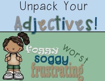 Unpack Your Adjectives: A Week of Fun with Adjectives - Camping Themed Week Long Adjective Unit based on Schoolhouse Rock's Adjective video!