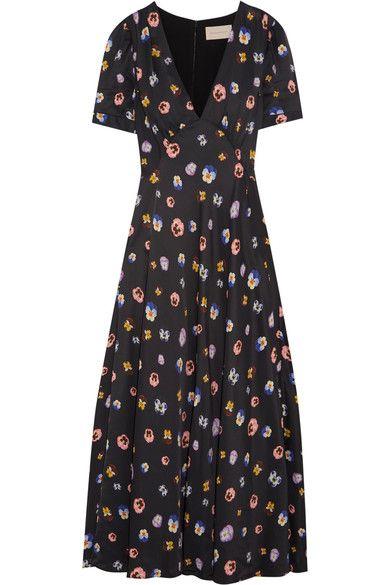 Christopher Kane - Printed Crepe De Chine Maxi Dress - Black - IT44