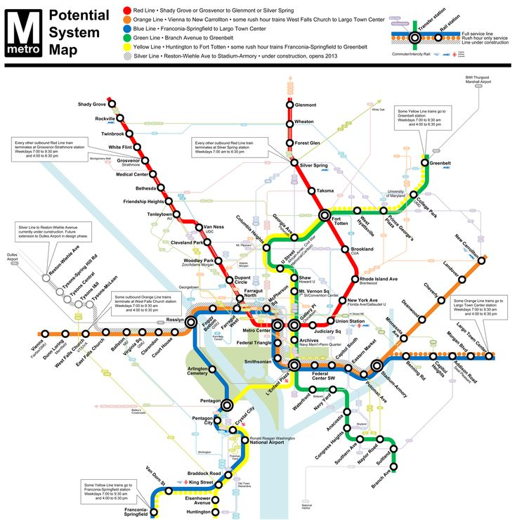 Washington Metro Map to Scale | Don't get me wrong -- I love Metrorail. However, I think that we will ...