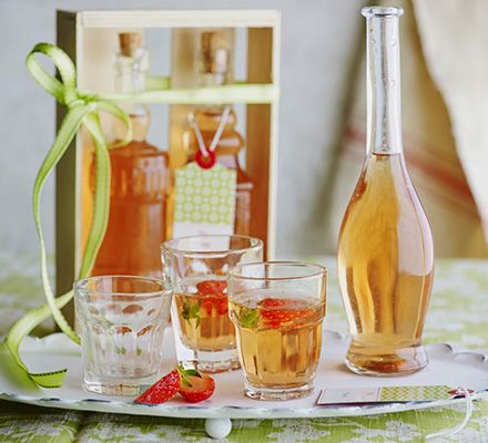 Rhubarb & strawberry vodka. Fruit-infused spirits are a great way to showcase seasonal rhubarb. Leave the flavour to intensify for up to a month