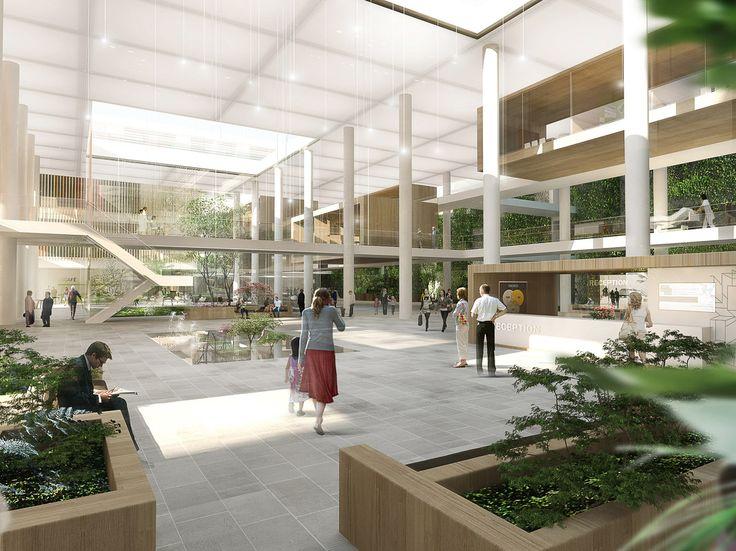 Nyt Aalborg Universitetshospital by aarhus arkitekterne #hospital #lobby #atrium #danisharchitecture #scandinavianarchitecture #healthcare #aarhusarkitekterne