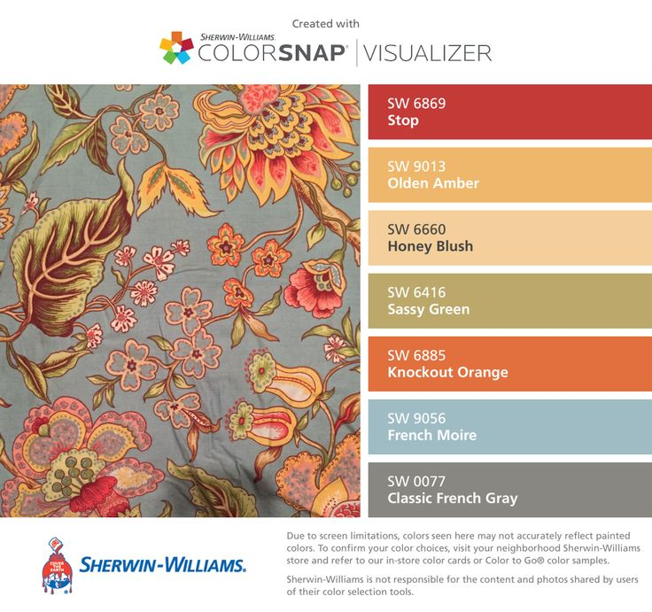 I found these colors with ColorSnap® Visualizer for iPhone by Sherwin-Williams: Stop (SW 6869), Olden Amber (SW 9013), Honey Blush (SW 6660), Sassy Green (SW 6416), Knockout Orange (SW 6885), French Moire (SW 9056), Classic French Gray (SW 0077).