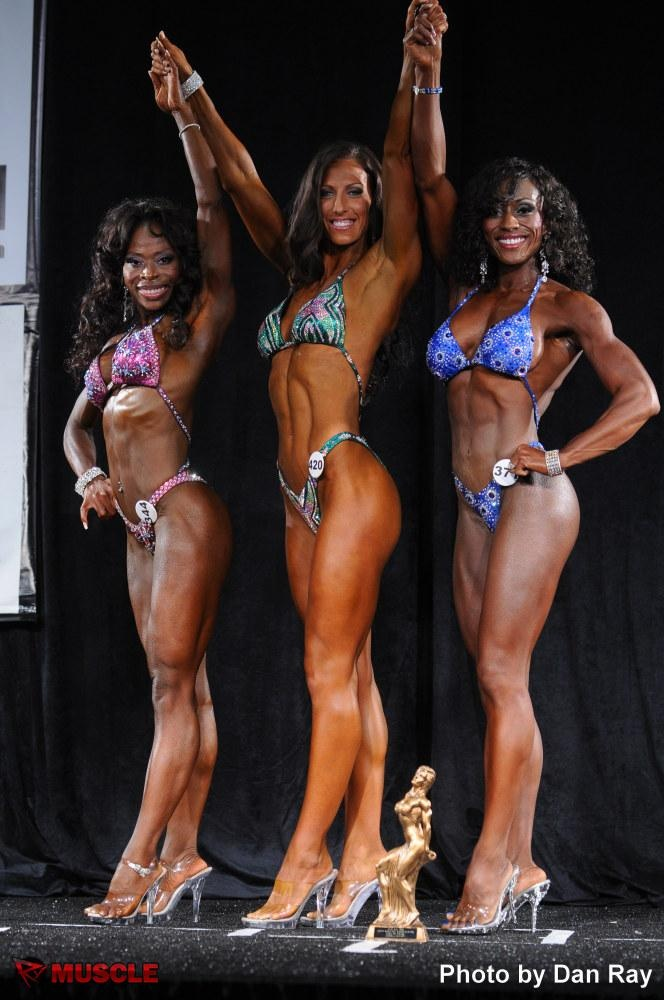 On the Podium. IFBB Bodybuilding Competition.