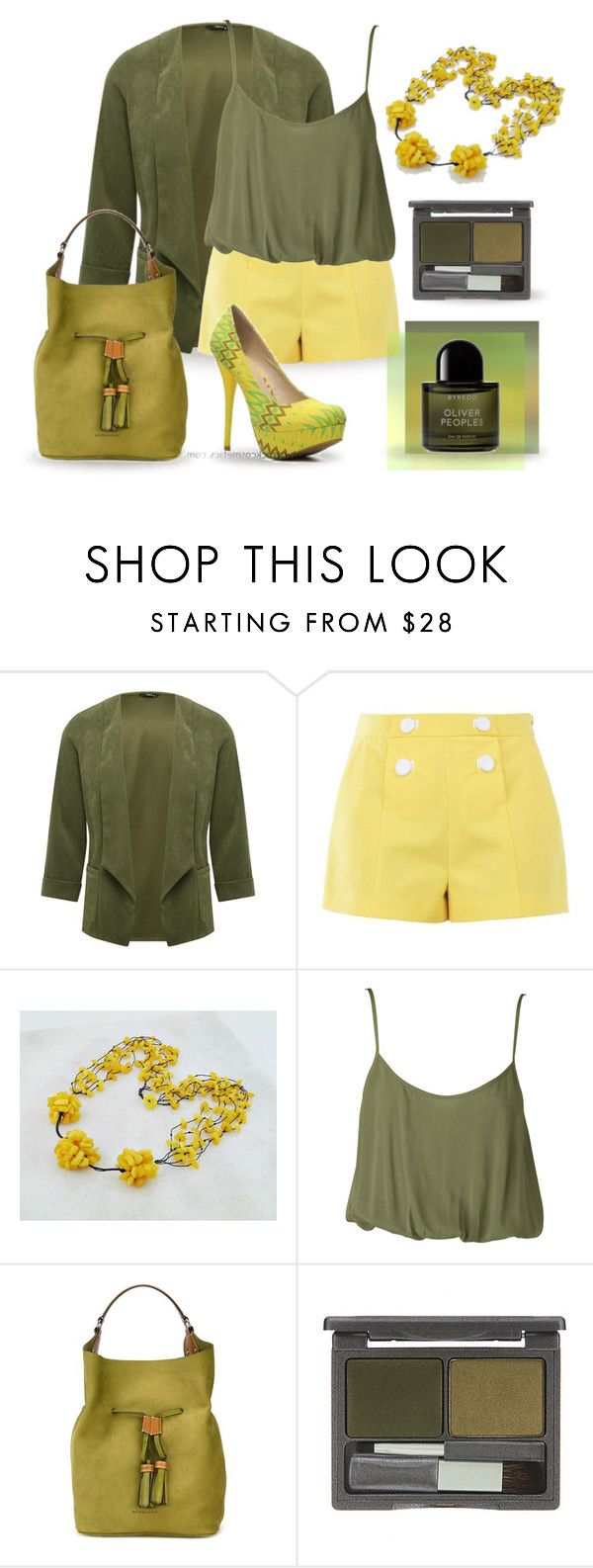 Yellow & Olive Green by styledonna on Polyvore featuring moda, Nookie, M&Co, Boutique Moschino, Burberry, DuWop and Byredo