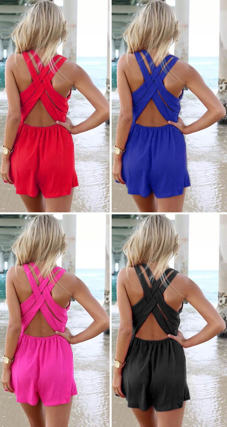 Time to rock and roll, these strappy crossback rompers have four colors for your selection! More surprise at OASAP.