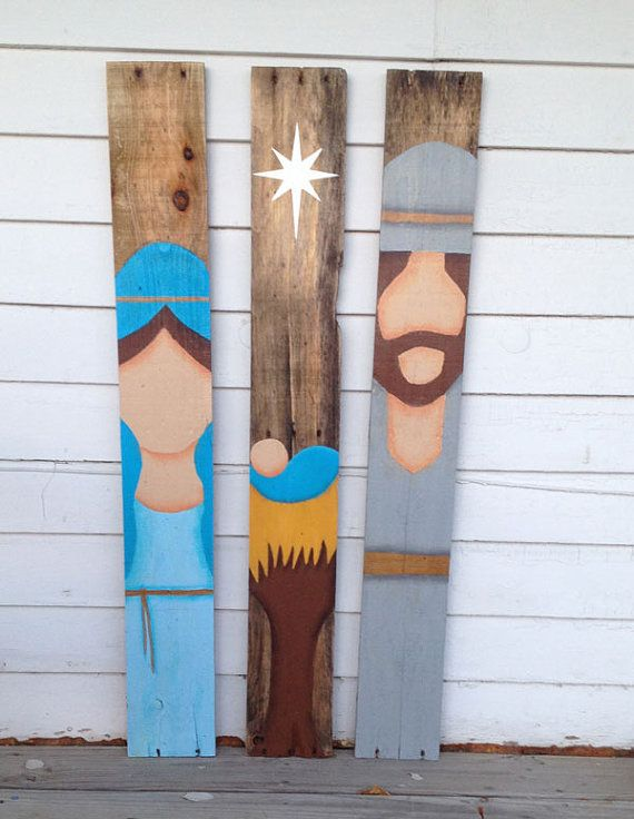 ....Come Let Us Adore Him This simplified representation of the Nativity is painted on salvaged wood pieces. It is painted on 3 individual