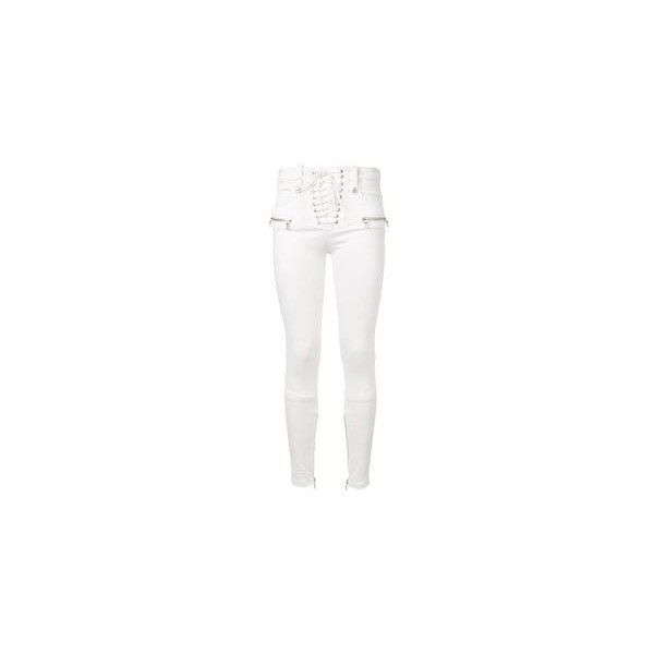 Unravel White Laceup Skinny Pants ❤ liked on Polyvore featuring pants, white skinny trousers, lace up trousers, skinny pants, white skinny pants and front lace up pants