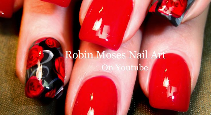 Nail Art For Beginners | Easy Red Rose Nails | Roses Nail Design Tutorial
