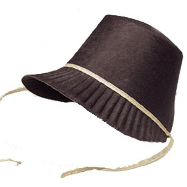 Our Adult Ladies Pilgrim Bonnet hat is a great addition to any of our pilgrim costumes. - Hat is made of a permafelt material and comes with two attached string ties - One size fits most - SKU: CA-010