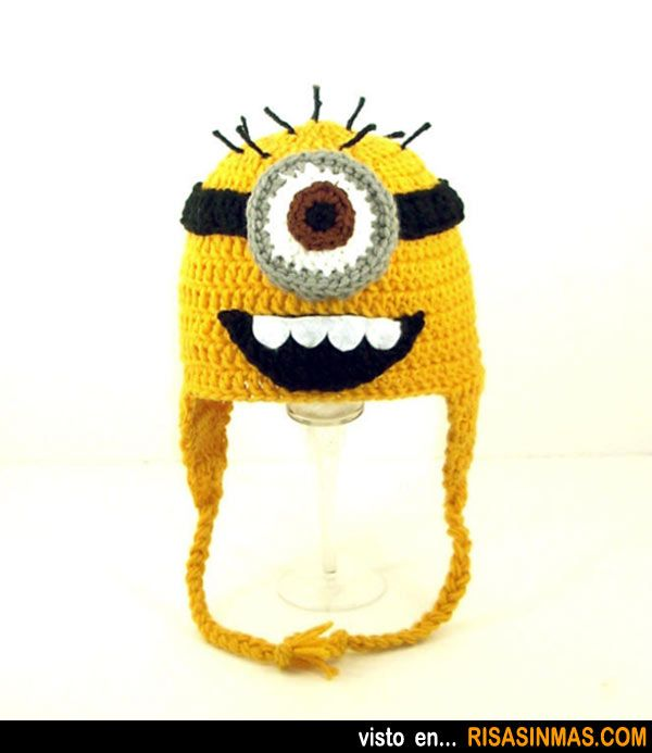 Gorros originales: Minions.: Send Size, Funny Hats, Minions Earflap, Earflap Hats, Minions Hats, Birthday Hats, Eye Minions, Minion Hats, Despicable Me